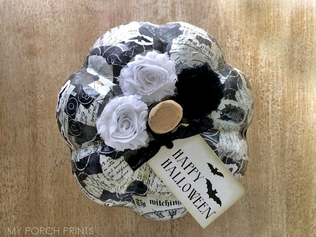 Make This Black & White Halloween Craft Pumpkin