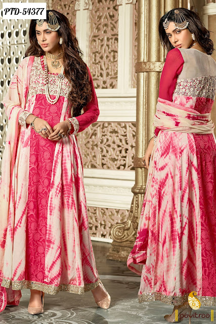 pink color floor length net anarkali salwar suit online shopping for women