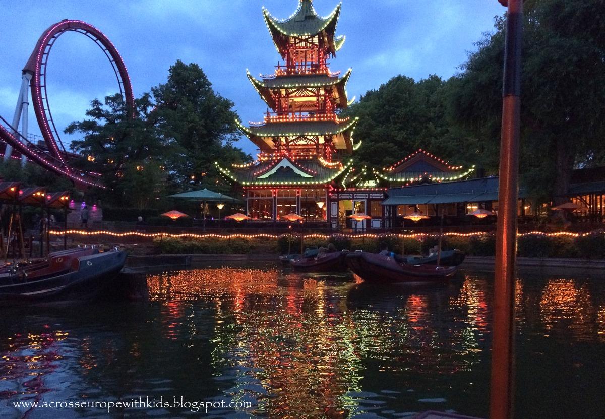 Tivoli Gardens in Copenhagen after dusk.