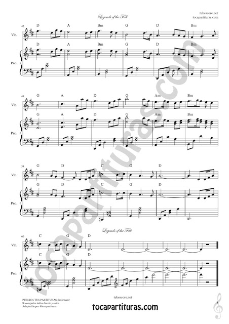 3 Leyendas de Pasión Partitura de Violín Legends of the Fall Sheet Music for Violinists (Tuba lectura en 8ª baja)