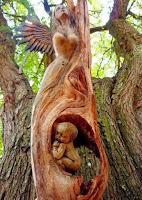 Obras de arte hechas con madera feto bebe en el vientre