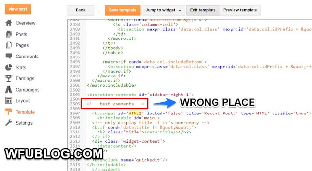 blogger-wrong-comments-location-How to Customize Blogger Template﹍(1) Skills of Adding Comments for Codes