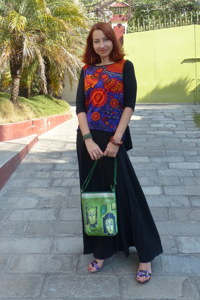 Black maxi skirt and Global Desi printed top