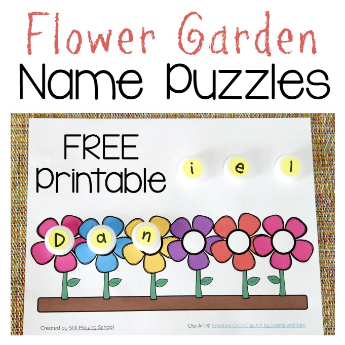 image about Name Puzzle Printable called Flower Standing Puzzle Even now Participating in College or university