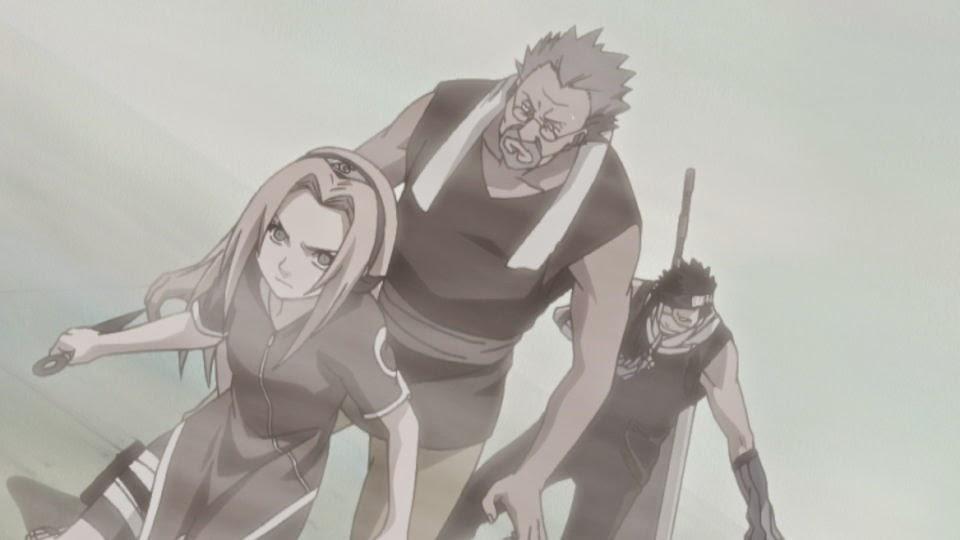 Sakura protegiendo a Tazuna