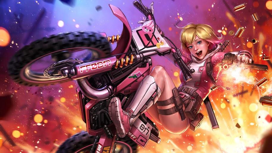 Gwenpool, Gun, Motorcycle, 4K, #4.213