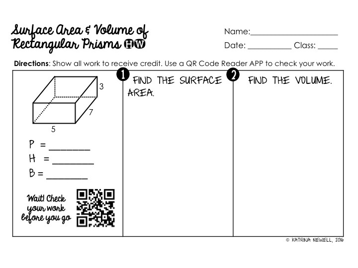 Surface Area Volume of Prisms Unit Mrs Newells Math – Surface Area Cylinder Worksheet