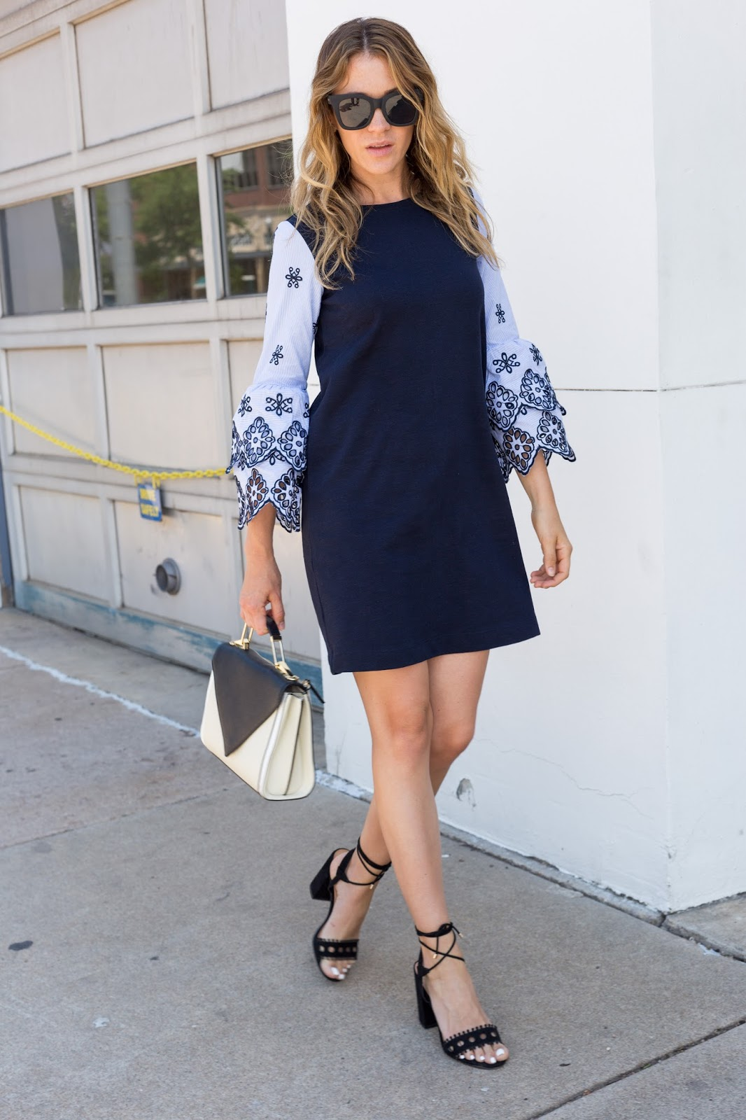 Loving this statement sleeve dress with these lace up heels!