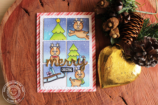 Sunny Studio Stamps: Gleeful Reindeer Grid Style Christmas Card by Eloise Blue.