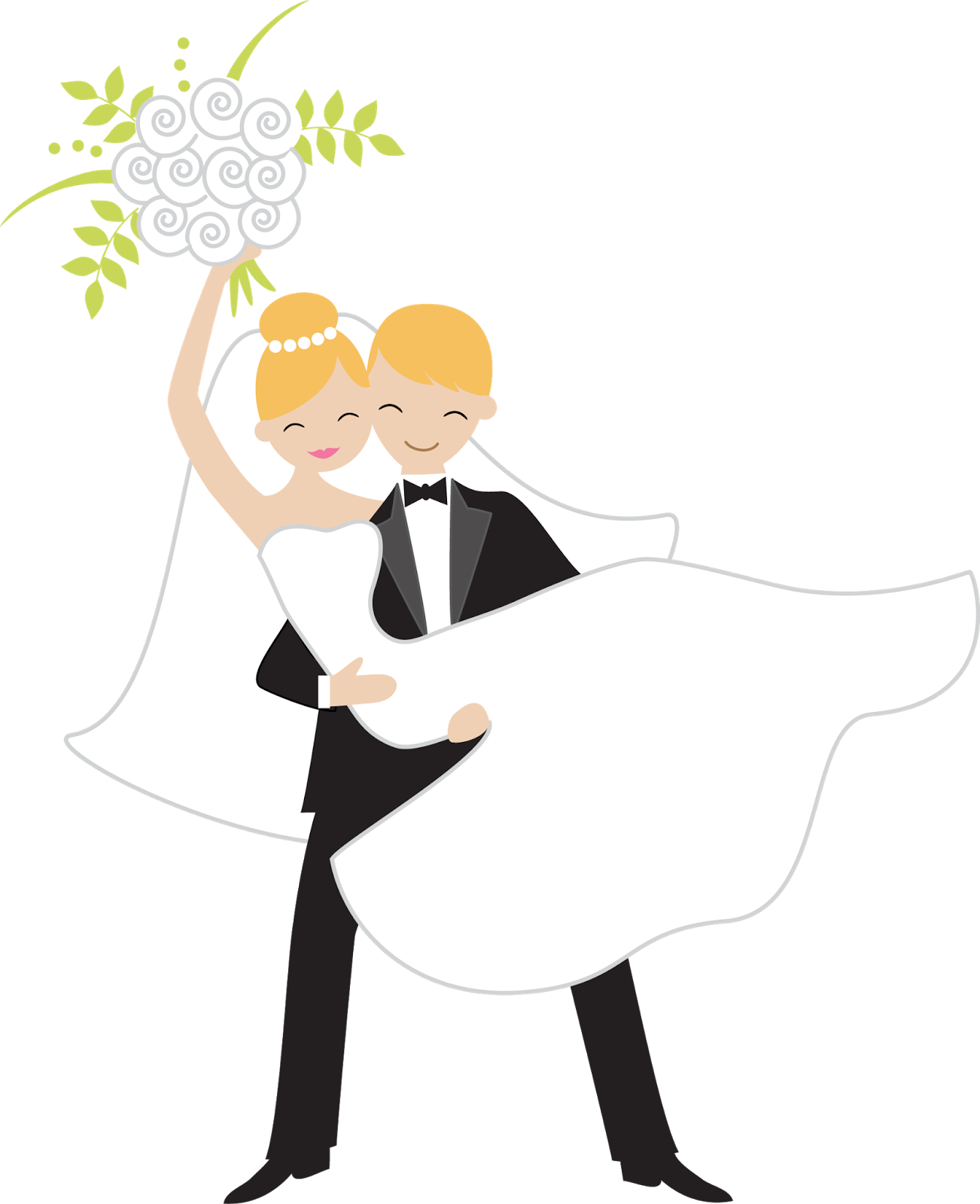 Wedding Clip Art: Throwing The Bouquet Clipart.