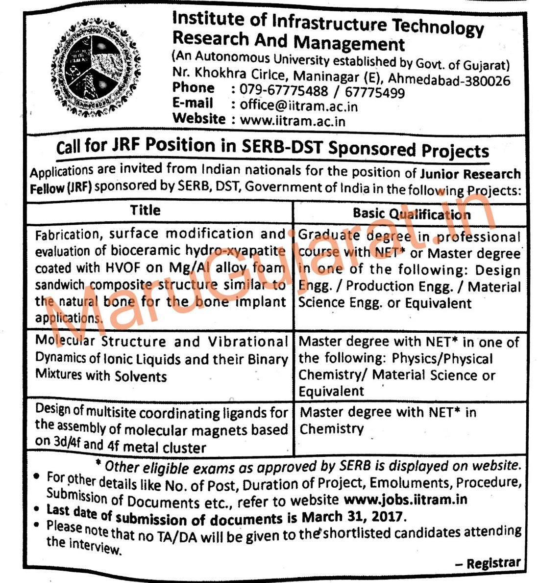 IITRAM Ahmedabad Advertisement for JRF Position 2017
