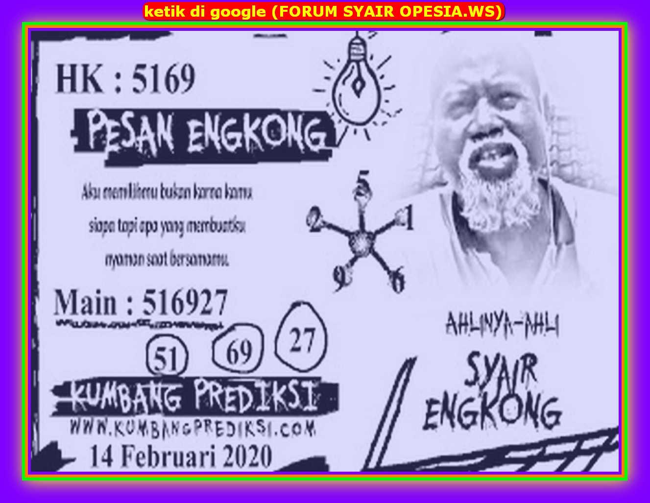 Kode syair Hongkong Jumat 14 Februari 2020 90