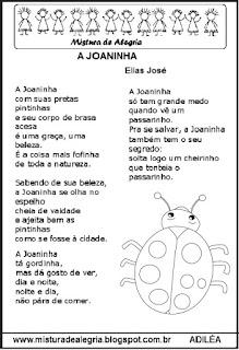 Poesia a joaninha e atividades