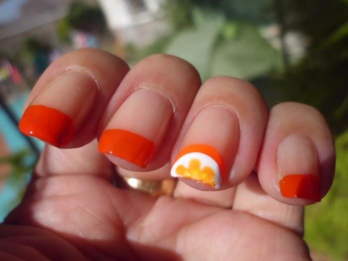manicura francesa naranja
