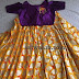Yellow Printed Lehenga Purple Blouse
