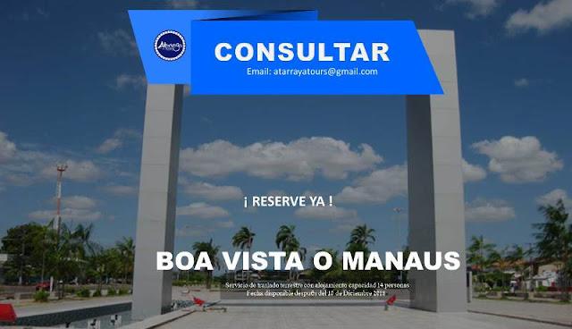 Servicio de traslado terrestre a  Boa Vista o Manaus