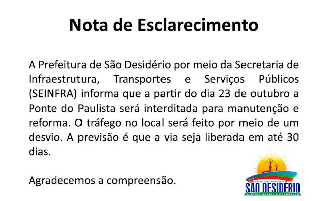 Nota de Esclarecimento da Prefeitura Municipal de São Desidério