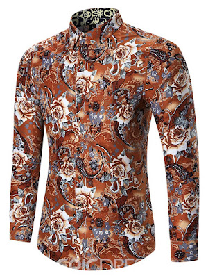Floral Print Lapel Long Sleeve Slim Men's Shirt