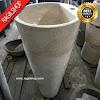 Paket wastafel plus pedistal asli marmer tulungagung unik batualam diameter 40 cm