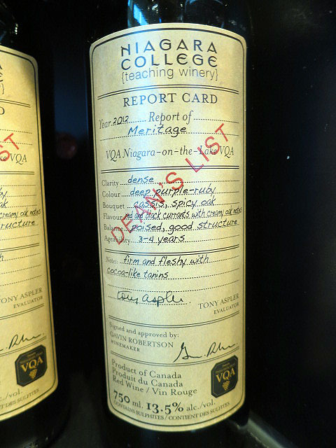 Niagara College Teaching Winery Dean's List Meritage 2012 (90+ pts)