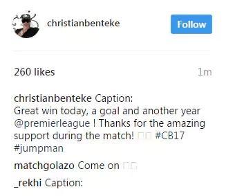 Christian Benteke makes embarrassing Instagram gaffe