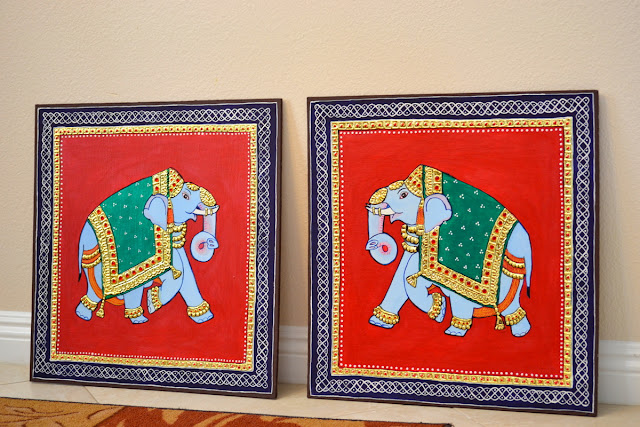Decorative big elephant home decor tanjore painting