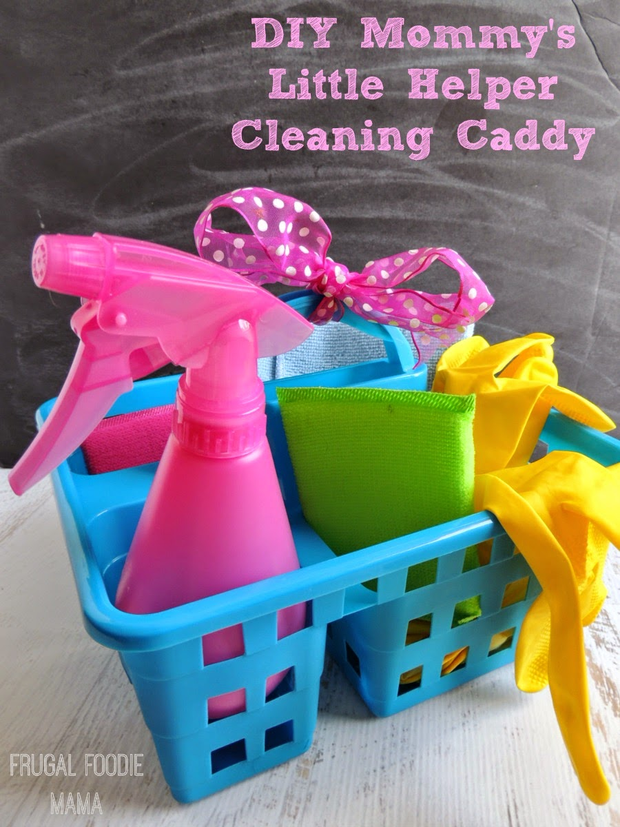 "DIY Mommy's Little Helper Cleaning Caddy via thefrugalfoodiemama.com - Let the little ones ""help"" while you clean up! #InstaClean #shop"
