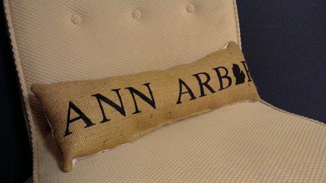 Ann Arbor burlap lumbar pillow - handmade in Michigan - www.linaandvi.etsy.com