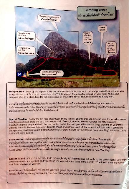 Distribución de los distintos secotres de escalada y su descripción. Disponibles para consulta en la Noom's Guest House