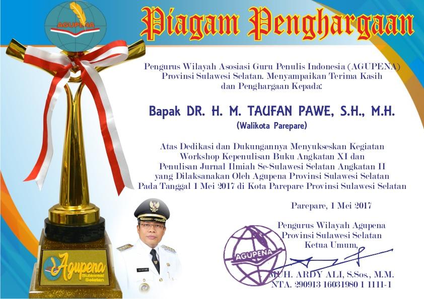 Penghargaan untuk Walikota Parepare