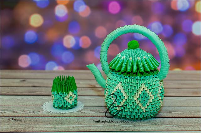 658. Czajnik z origami / 3d origami teapot