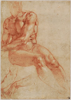 1510-11 Michelangelo, Seated Young Male Nude and Two_Arm_Studies