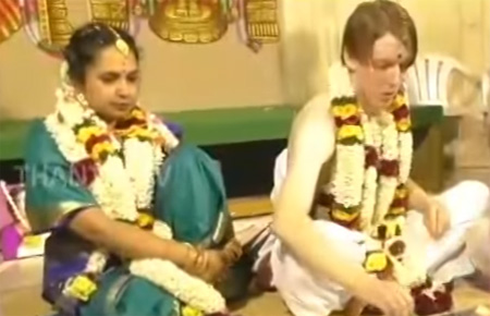 Foreign Groom married Tamil Bride in Indian Tradition at Erode