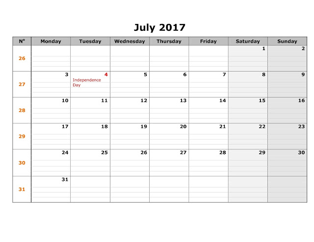 July 2017 Printable Calendar Pdf, Word, Excel