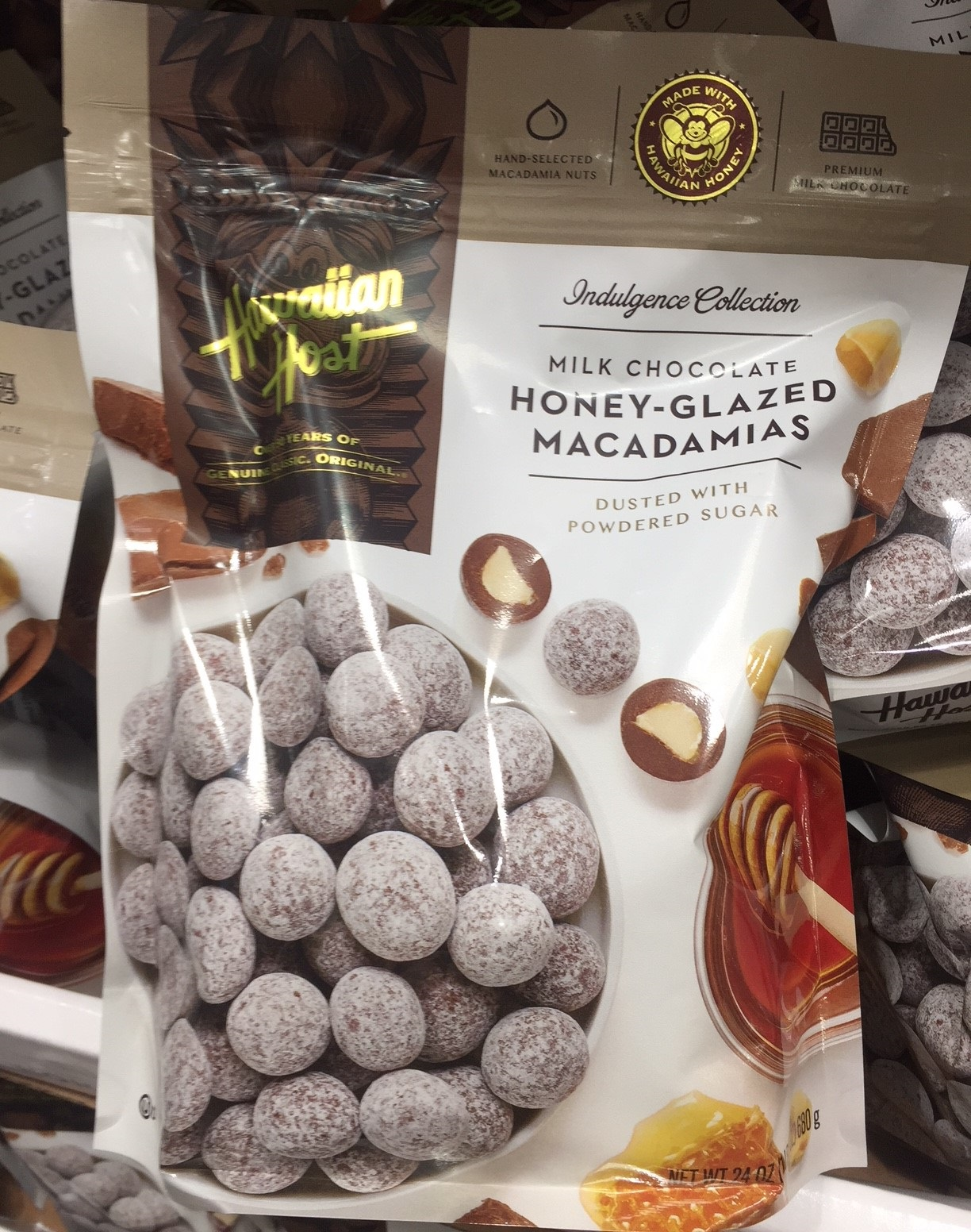 Indulge your sweet tooth with Hawaiian Host Milk Chocolate Honey-Glazed Macadamias