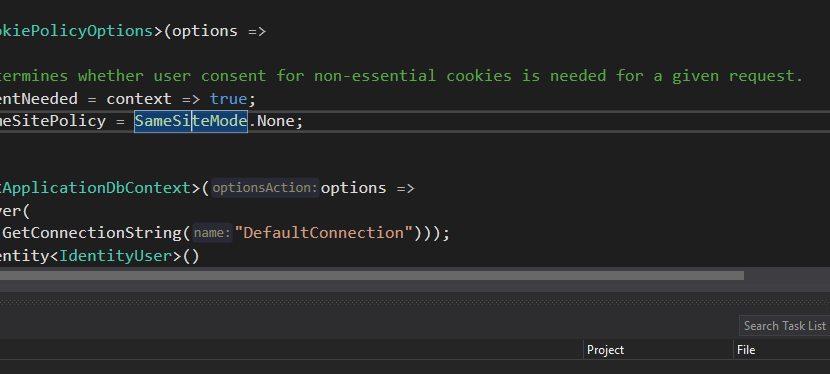 A snippet of Startup.cs code from an asp.net core application