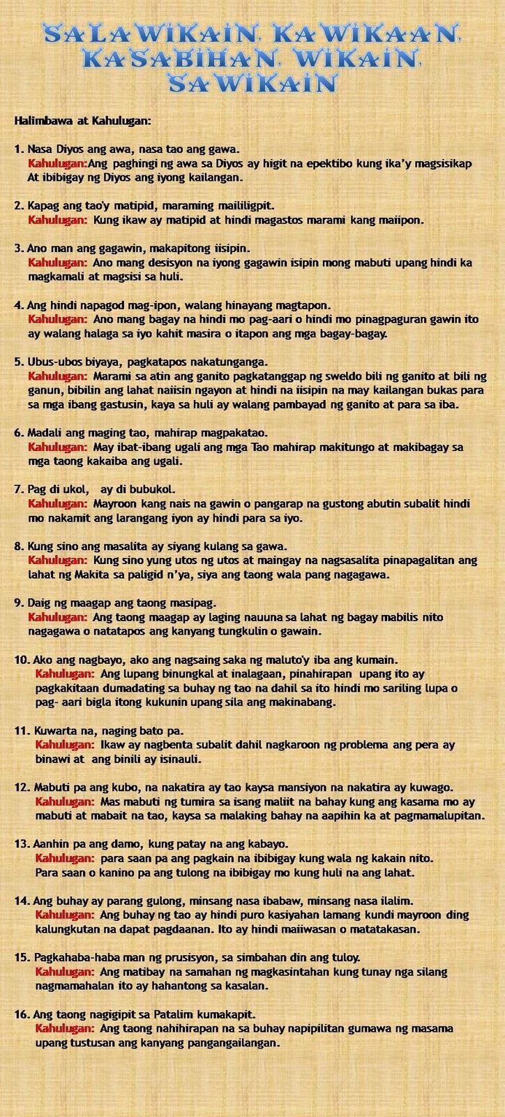 Makatang Pinoy Salawikain Halimbawa At Kahulugan