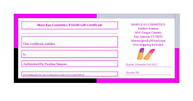 Free printable mary kay hostes gift certificates party for Mary kay invite templates