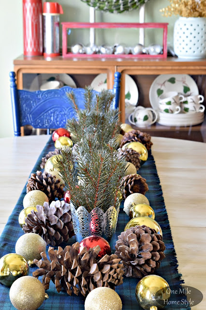 Christmas Tablescape with Plaid, Pinecones and Gold Ornaments | Christmas Home Tour - One Mile Home Style