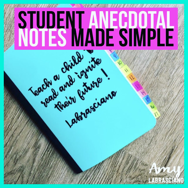 Anecdotal notes in the classroom are a great way to document your student's needs, progress, behavior , etc.  These notes may become very useful during conference time.  They help you to save time when planning lessons.  Perfect for elementary, middle and high school.