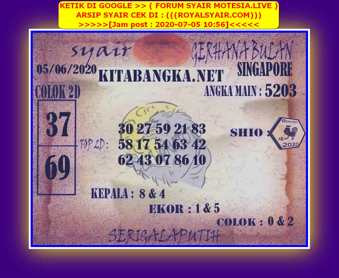 Kode syair Singapore Minggu 5 Juli 2020 87