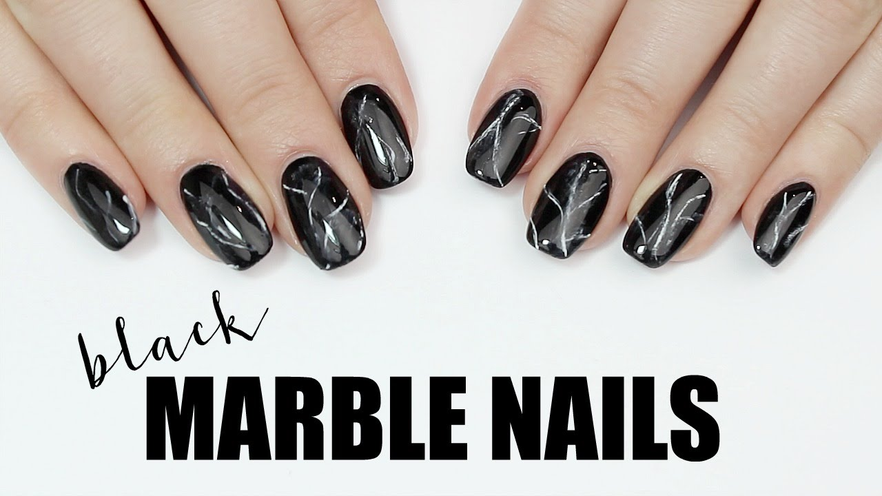 DIY: Easy To Do Black Marble Stone Nail Art