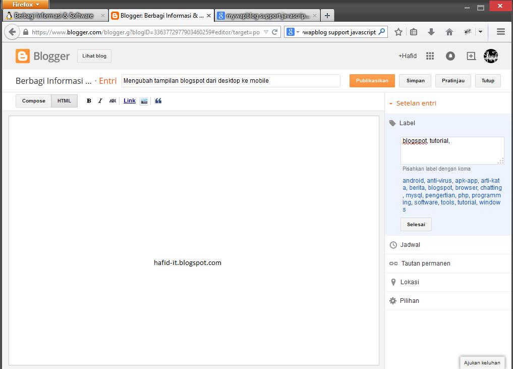 Mengubah tampilan blogspot dari desktop ke mobile