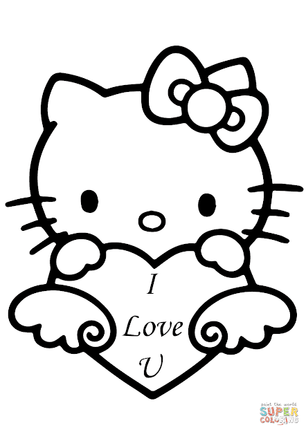 Click The Hello Kitty With Love You Heart Coloring Pages