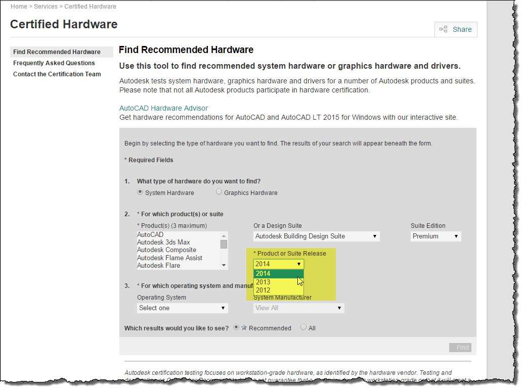 Revit OpEd: Autodesk Hardware Selection Support Site