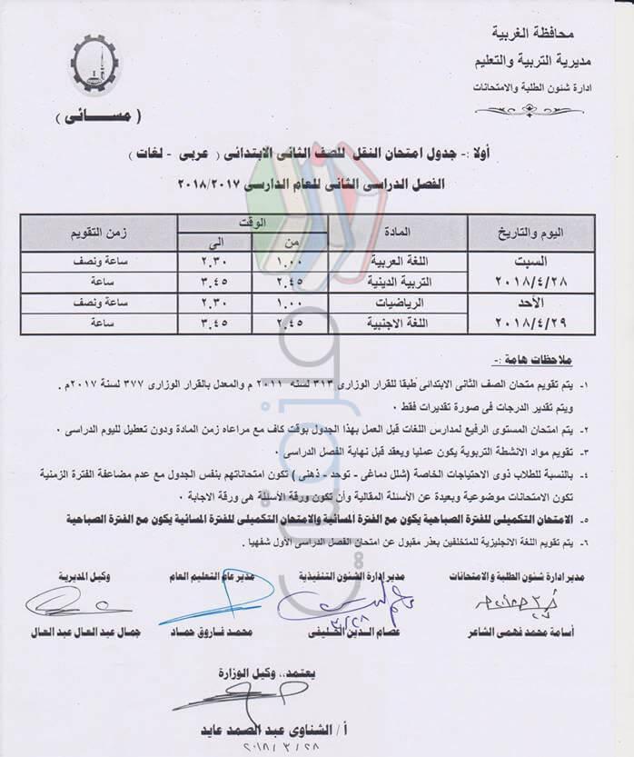 جدول امتحانات الصف الثاني الابتدائي 2018 الترم الثاني محافظة الغربية