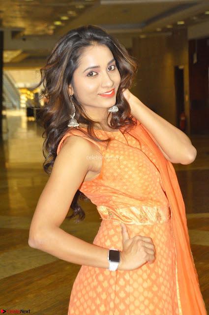 Bhanu Priya in Oreange Ethnic Anarkali Dress 01.JPG