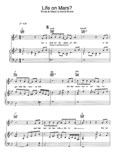 Partitura Piano David Bowie