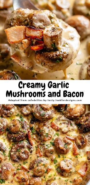 Creamy Garlic Mushrooms and Bacon