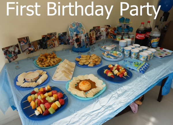 Away From Blue blog First Birthday Party simple spread Baby T